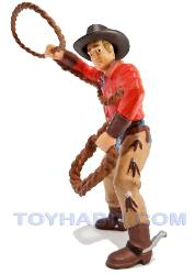 G SCALE LAYOUT  FIGURE- COWBOY IN A RED SHIRT WITH A LASSO