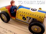 Vintage Tin Wind Up Race Car with Driver