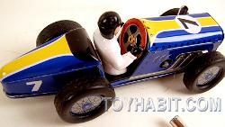 SPEEDWAY RACER- CLASSIC VINTAGE TIN WIND UP RACE CAR WITH DRIVER - SCHYLLING